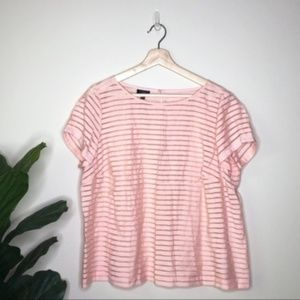 Talbots light pink peach stripe sheer blouse
